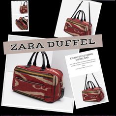 """GORGEOUS NWT  ZARA  """"ETHNIC"""" DUFFEL BAG This gorgeous bag was given to me as a gift, the fabric is like A KILIM or IKAT weave. It also has irregularities like those fine handmade fabrics. The faux leather seems very sturdy, quite a statement piece. Measurements in inches above. Removable shoulder strap. Last 3 photos are actual bag in my smoke free home - please note fabric is naturally """"frizzy"""" ...jute) questions are welcome. fabric is jute and cotton. Smoke free home.  PRICE JUST DROPPED…"""