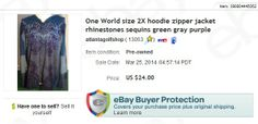 One World 2X hoodie, $1.75 at thrift store, sold for $24