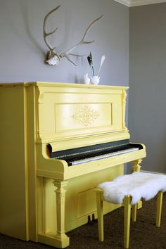 our home: painted yellow piano Painted Pianos, Painted Furniture, Furniture Makeover, Diy Furniture, The Piano, Piano Room, Glass Dining Table, Interior Decorating, Interior Design