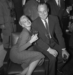 Roberto Rossellini, Janes Mansfield, Candid, Entertaining, Couple Photos, Photography, Television Set, Confused, Europe