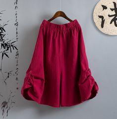 Womens Cotton Linen Loose Pants Wide Leg 3/4Trousers Elastic Waist Pleated Retro