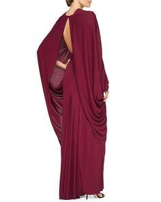 Zac Posen Draped Cape-Sleeve Open-Back Gown