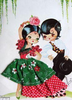 Vintage Big Eyed Spanish Couple Embroidered Souvenir Postcard   por Sillyshopping