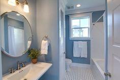 blue and tan bathroom - Google Search Decor, Light, Furniture, Bathroom Mirror, Tan Bathroom, Home Decor, Mirror, Bathroom Lighting, Bathroom