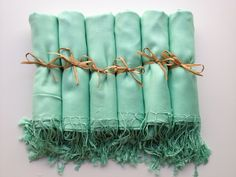 Set of 6 Mint Green Shawls, Pashmina, Scarf, Wedding Favor, Bridal Shower Gift, Bridesmaids Gift, Wraps, Welcome Bags, Wedding Keepsakes. $57.00, via Etsy.