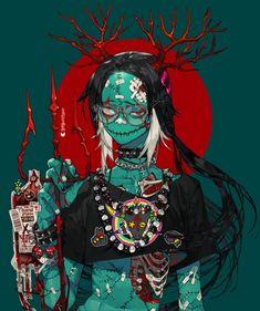 Pretty Art, Cute Art, Character Design References, Character Art, Blood Anime, Zombie Girl, Character Design Inspiration, Graphic, Manga Art