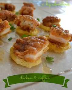 I used Mint Love Social Club's idea of the mini Eggo waffles as the base.     For the chicken, my first thought was YES! Chick-fil-A chicken...