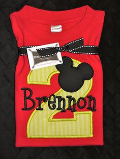 Mickey Mouse Ears Birthday Shirt by bloomingbabies on Etsy,
