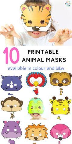 10 Printable Safari Animal Masks for Kids