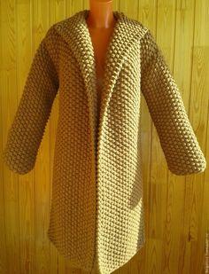 """Купить Вязаное пальто крупной жемчужной вязки """"Крупный жемчуг"""" в интернет магазине на Ярмарке Мастеров Knitted Baby Cardigan, Knitted Coat, Crochet Skirts, Crochet Clothes, Crochet Shawl, Knit Crochet, Knit Wrap Pattern, Free Pattern, Diy Crafts Crochet"""