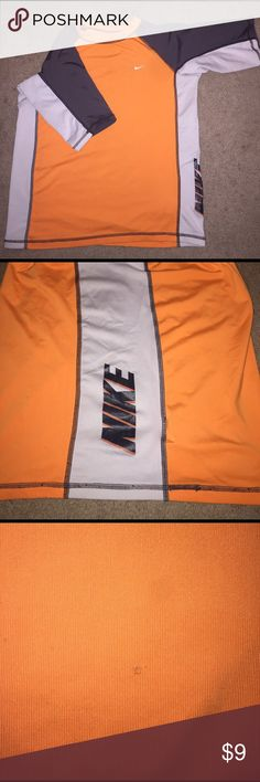 Nike Dri-Fit T-shirt, boys size XL Orange, gray & white dri-fit shirt, very small snag near bottom show on 3rd picture Nike Shirts & Tops Tees - Short Sleeve