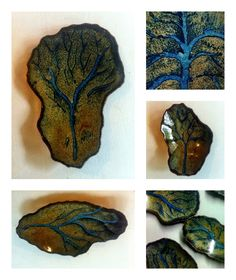 Gil Grimmett. Shallow slab vessels with flowing wax relief design.