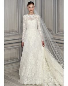 New wedding dresses by Monique Lhuillier from the designer's Spring 2012 bridal runway collection. Used Wedding Dresses, Bridal Dresses, Wedding Gowns, Wedding Shot, Modest Wedding, Wedding Table, Fall Wedding, Bridal Lace, Bridal Style