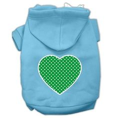 Green Swiss Dot Heart Screen Print Pet Hoodies Baby Blue Size XXXL (20)