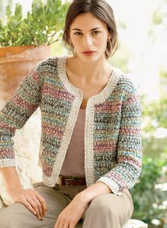Crochet Inspiration only: Old-world elements give our boxy pima jacket its classic couture status. Artisan-crocheted in an elegant gradation of tweeded pastels and framed in pearl white. With ¾-sleeves, faux flap pockets and a clean, buttonless placket. Gilet Crochet, Crochet Coat, Crochet Cardigan Pattern, Crochet Jacket, Crochet Blouse, Crochet Shawl, Diy Crochet, Knit Patterns, Crochet Clothes