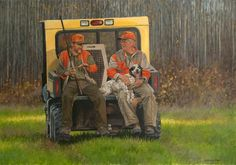 """""""End of the Day"""" An oil showing two hunters at the National Ruffed Grouse and Woodcock Hunt near grand Rapids, MN."""