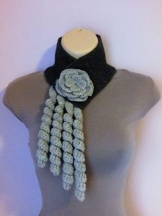 Knitted and Crochet Scarf Neckwarmer with Crochet by Tatjana474, $16.00