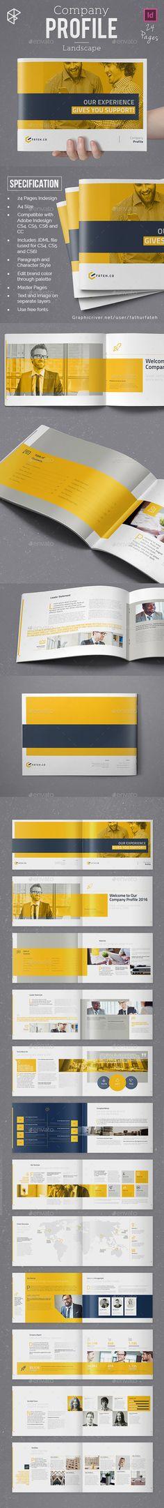 Company Profile Design Template Landscape - Corporate Brochure Template InDesign INDD. Download here: https://graphicriver.net/item/company-profile-landscape/17680976?ref=yinkira