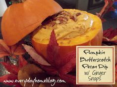 Easy and oh-so-yummy Pumpkin-Butterscotch-Pecan Dip served with Ginger Snaps. yum!