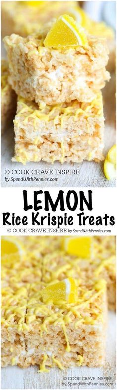Lemon Rice Krispie Treats – Spend With Pennies Lemon Rice Krispie Treats are delicious, easy to prepare and give a classic treat a fantastic fresh citrusy spin! Perfect for dessert or to fill a lunch box. Lemon Desserts, Köstliche Desserts, Lemon Recipes, Sweet Recipes, Delicious Desserts, Dessert Recipes, Rice Recipes, Fudge Recipes, Candy Recipes