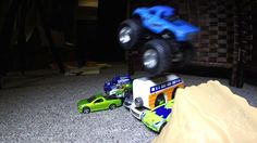 Monster Truck JUMPS and CRASHES!  Toy CARS Action Stunts!