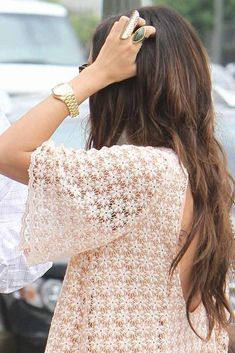 #lacy #cream top, chunky #gold #watch
