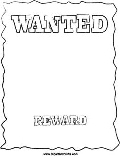 Printable WANTED Poster Cowboy Template Coloring Page Activity Sheet Can  Also Be Used As A Digital Stamp.  Printable Wanted Poster Template