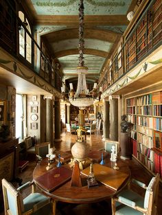 """Jacques Garcia private library at """"Champs de Bataille"""": his French chateau - A shimmering inspiration just picked out by Francesco Catalano www. Beautiful Library, Beautiful Homes, Green Library, Classic Library, Architecture Design, World Of Interiors, French Interiors, Castle Interiors, Home Libraries"""