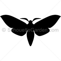 Moth silhouette clip art. Download free versions of the image in EPS, JPG, PDF, PNG, and SVG formats at http://silhouettegarden.com/download/moth-silhouette/