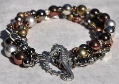 Sunset Swim Beaded Coastal Bracelet with Seahorse Clasp - by SeaSide Strands