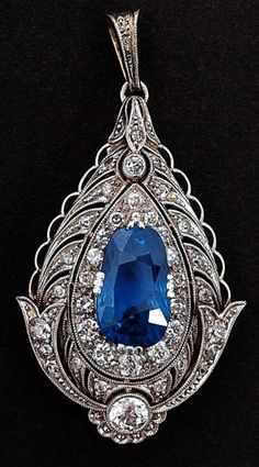 Art Nouveau Sapphire and Diamond Pendant