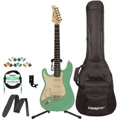 Sawtooth Classic ES 60 Alder Body Electric Guitar Kit with ChromaCast Gig Bag & Accessories, Green