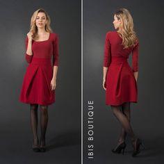 2c5efb881856d High waist red woman skirt, short skirt, mini pleated skirt, plus / large  sizes, elegant knee-length