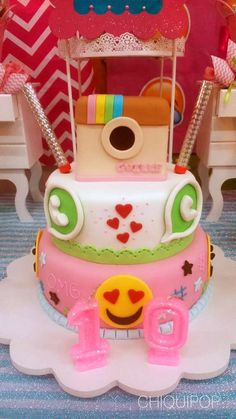 What a cool cake at an emoji birthday party! See more party ideas at http://CatchMyParty.com!