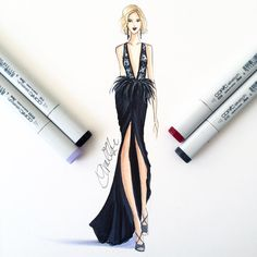 """Loved the Daisy Buchanan vibes- gown by @marchesafashion. I sketched with @copicmarker and highlighted with their opaque white. #fashionsketch…"""