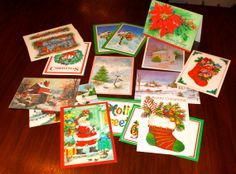Lot of Vintage Christmas Cards 1960s and 70s Paper Ephemera NOS for crafting by poetsy, $4.00