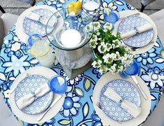 Beautiful table setting and DIY tablecloth with pleated trim. Gorgeous plates!!