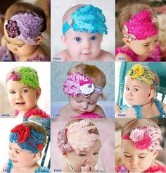 Choice of Baby Girls Stylish Fashion Feather or Floral Headbands.