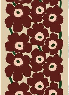 This printed cotton and linen blend fabric carries the classic Unikko pattern in beige, reddish brown and peach.Marimekko's famous poppy pattern Unikko was born in 1964 in a time when the design house's collections featured mostly abstract pri Marimekko Wallpaper, Marimekko Fabric, Linen Fabric, Cotton Linen, Motif Vintage, Poppy Pattern, Extra Fabric, Fabric Online, Large Prints
