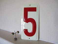 Sign Number Five Industrial Vintage
