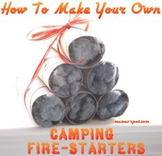 Make It Yourself Monday: Camping & Survival Tip! How To Make Your Own Fire-Starters! Toilet rolls and lint - great way to recycle. Survival Food, Camping Survival, Survival Tips, Suv Camping, Camping Outdoors, Outdoor Survival, Survival Skills, Rustic Napkin Holders, Rustic Napkins