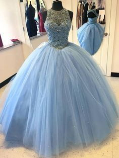 Fashion Blue Round Neck A-Line Tulle Long Prom