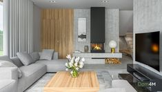 Modern living room with fireplace – living – eliving Living Room Modern, Living Room Interior, Living Room Designs, Living Room Decor, Appartement Design, Apartment Interior Design, Living Room With Fireplace, Luxurious Bedrooms, Home Remodeling