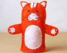 Felt finger puppet, cat, animal puppet, storytime puppet