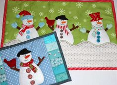 I've been dressing snowmen with different hats and mittens.  One mug rug pattern - three different looks.