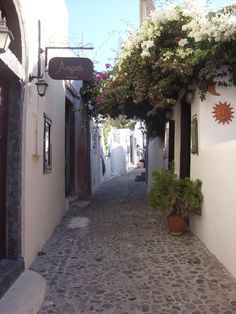 Quiet, meandering streets in Santorini, Greece. I had the best time there.