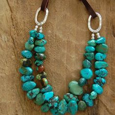 Double Strand Turquoise and Leather Necklace: