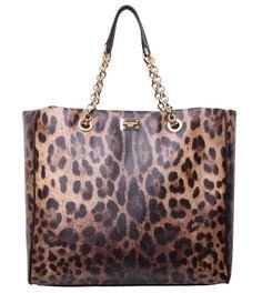 Dolce & Gabbana Leopard Print Large Shopper Bag