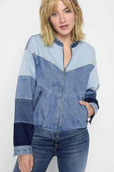 Znalezione obrazy dla zapytania jeans patchwork coat