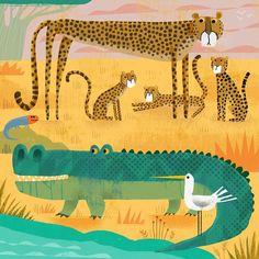 Crocodile with wary cheetahs. Crocodile Illustration, Bird Illustration, Digital Illustration, Gardenias, Cheetah Drawing, Alligator Birthday, Kids Planner, Tiger Art, Cheetahs